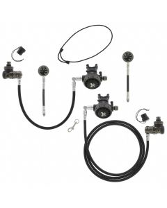 XTRA Sidemount Reg Package w/ Black Face SPGs and 6-Inch Braided Flex Hoses