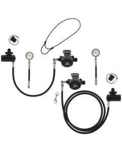 D6 Sidemount Reg Package w/ White Face SPGs and 6-Inch Braided Flex Hoses