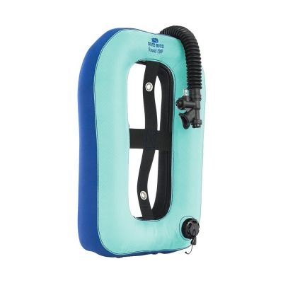 Dive Rite Travel EXP Wing - SKYBLUE {25 lb | 11 kg} Lift w/ Plain Elbow, 12-in Hose