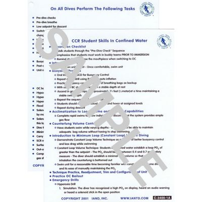 CCR Skills Sheet Set, Confined (C-3400-1) and OW (C-3400-2)