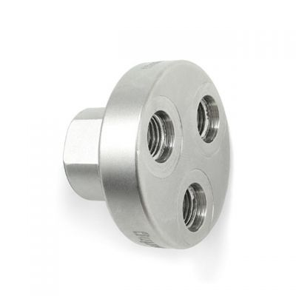 LP Y-Block: 3 Port 3/8-inch F = 1 Port 9/16-Inch F